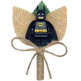 Boys Batman Hessian & Twine Rustic Buttonhole