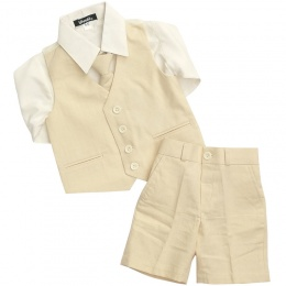 Boys Beige Cotton Linen 4 Piece Shorts Suit
