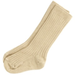 Boys Beige Ribbed 3/4 Length Formal Socks