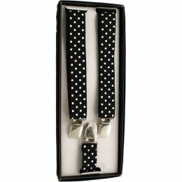 Boys Black & White Polka Dot Adjustable Braces + Gift Box