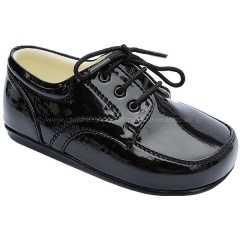 Boys Black Patent Formal First Walker Lace Up Shoes