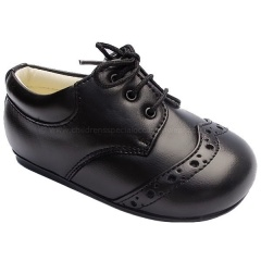 Boys Black Matt Brogue Lace Up Shoes