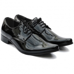 Boys Black Patent Derby Pointed Shoes 'George'