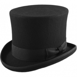 Boys Black Premium Wool Tall Top Hat