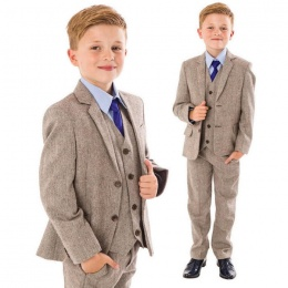 Boys Brown Tweed Herringbone 5 Piece Jacket Suit