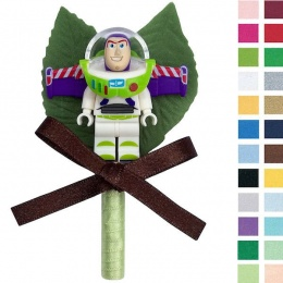 Boys Buzz Lightyear Buttonhole with Satin Bow & Stem