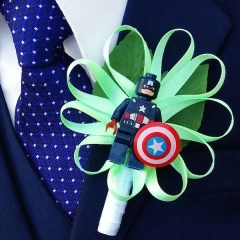 Boys Captain America Satin Flower Buttonhole