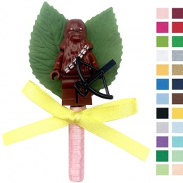 Boys Chewbacca Buttonhole with Satin Bow & Stem