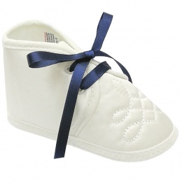 Baby Boys Ivory Satin Navy Ribbon Shoes