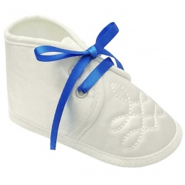 Baby Boys Ivory Satin Royal Blue Ribbon Shoes