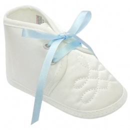 Baby Boys Ivory Satin Sky Blue Ribbon Shoes