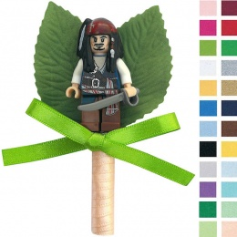 Boys Jack Sparrow Buttonhole with Satin Bow & Stem