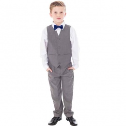 Boys Light Grey 4 Piece Bow Tie Suit with Trousers