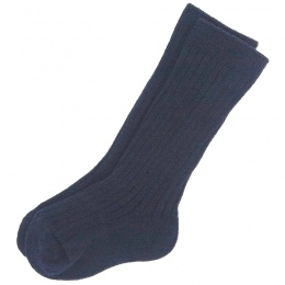 Boys Navy Ribbed 3/4 Length Formal Socks