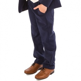 Boys Navy Slim Fit Formal Suit Trousers