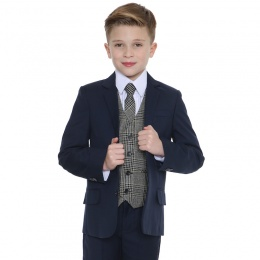 Boys Navy & Tweed Blue Check 5 Piece Slim Fit Suit