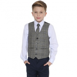 Boys Navy & Tweed Blue Check 4 Piece Waistcoat Suit
