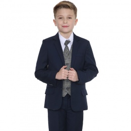 Boys Navy & Tartan Tweed Blue Check 5 Piece Suit