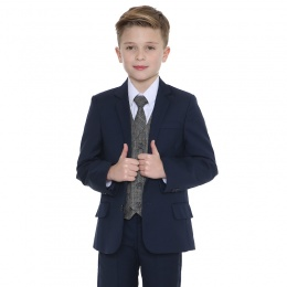 Boys Navy & Tartan Tweed Orange Check 5 Piece Suit