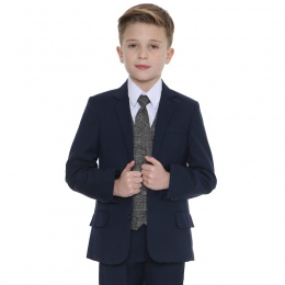 Boys Navy & Tartan Tweed Red Check 5 Piece Suit