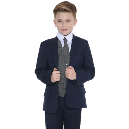 Boys Navy & Grey Tweed Check 5 Piece Slim Fit Suit