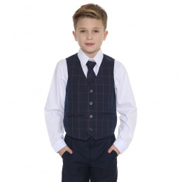 Boys Navy & Red Check 4 Piece Waistcoat Suit