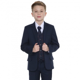 Boys Navy & Red Check 5 Piece Slim Fit Suit