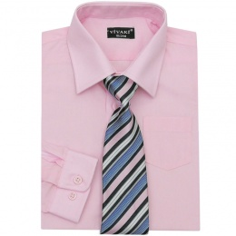 Boys Pink Formal Shirt & Tie Box Set