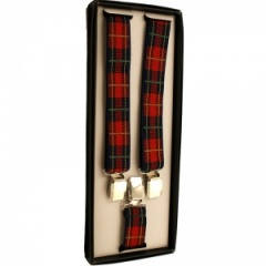 Boys Red Check Tartan Adjustable Braces + Gift Box