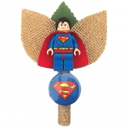 Boys Superman Figure & Badge Hessian & Twine Buttonhole