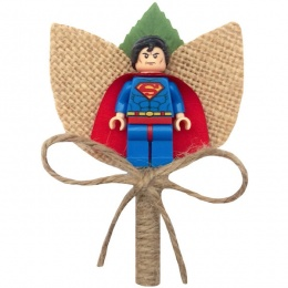 Boys Superman Hessian & Twine Rustic Buttonhole