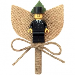 Boys Hessian & Twine Buttonhole with Top Hat Figure