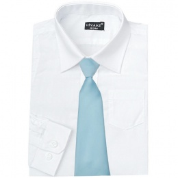 Boys White Formal Shirt & Sky Blue Tie