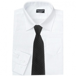 Boys White Formal Shirt & Black Dot Tie