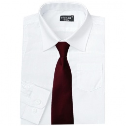 Boys White Formal Shirt & Burgundy Tie