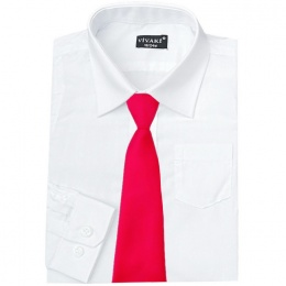 Boys White Formal Shirt & Hot Pink Tie
