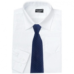 Boys White Formal Shirt & Navy Dot Tie