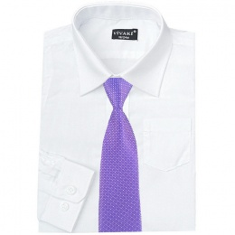 Boys White Formal Shirt & Purple Dot Tie