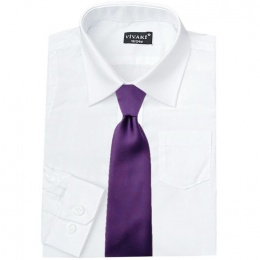 Boys White Formal Shirt & Cadbury Purple Tie