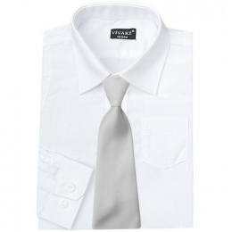 Boys White Formal Shirt & Silver Tie