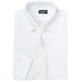 Boys White Formal Shirt & White Satin Tie
