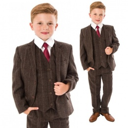 Boys Brown Tweed Check 5 Piece Jacket Suit