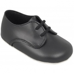 Baby Boys Black Matt Lace Pram Shoes 'Baypods'