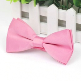 Boys Pink Smooth Matt Satin Bow Tie with Adjustable Strap