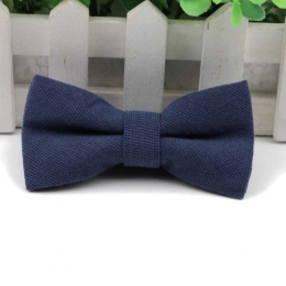 Boys Navy Cotton Bow Tie with Adjustable Strap