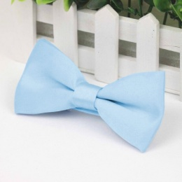 Boys Pale Blue Smooth Matt Satin Bow Tie with Adjustable Strap