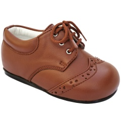 Boys Brown Tan Brogue Formal Lace Up Shoes
