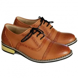 Boys Brown Brogue Oxford Pointed Shoes