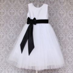 Busy B's Bridals Black & White Brogan Flower Girl Dress