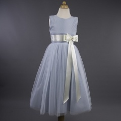 Busy B's Bridals 'Sam' Coloured Satin Ribbon Bow Dress